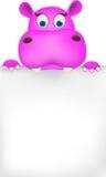 Hipopótamo bonito e sinal em branco Imagens de Stock Royalty Free