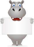 Hipopótamo bonito e sinal em branco Imagens de Stock
