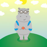 Hipopótamo bonito nos monóculos Fotografia de Stock Royalty Free