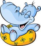 hipopótamo con la historieta del anillo de la nadada stock de ilustración