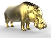 Hipopótamo 3D dourado ilustração royalty free