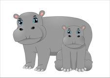 Hipopótamo da mãe e hipopótamo do bebê ilustração do vetor