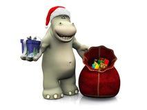 Hipopótamo de la historieta que distribuye los regalos de la Navidad Imagen de archivo libre de regalías