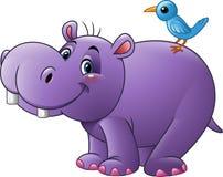 Hipopótamo divertido de la historieta con el pájaro stock de ilustración