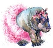 Hipopótamo do bebê em gráficos do t-shirt da saia da forma
