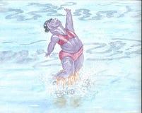 Hipopótamo e natação sincronizada ilustração royalty free