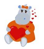 Hipopótamo en amor stock de ilustración