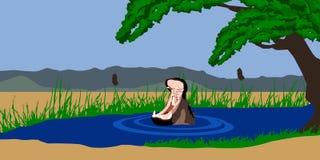 Hipopótamo en el lago stock de ilustración