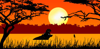 Hipopótamo en puesta del sol stock de ilustración