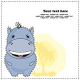 Hipopótamo engraçado, cartão, vetor Fotos de Stock