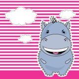 Hipopótamo engraçado, cartão, vetor Fotos de Stock Royalty Free