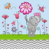Hipopótamo lindo con una flor stock de ilustración