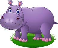 Hipopótamo lindo de la historieta en la hierba Fotos de archivo libres de regalías