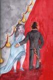 Hipopótamo no tapete vermelho Ilustração da quadriculação, aquarela ilustração do vetor