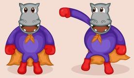 Hipopótamo no traje do super-herói ilustração do vetor