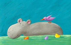 Hipopótamo, pájaro y pescados divertidos Imágenes de archivo libres de regalías