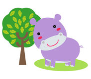 Hipopótamo pequeno bonito Fotos de Stock Royalty Free