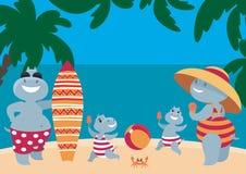 Hipopótamos amusing que têm um resto na praia Imagens de Stock Royalty Free