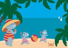 Hipopótamos amusing que têm um resto na praia Imagem de Stock