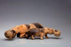 Hipopótamos de madeira primitiva cinzelados, Zimbawe Imagem de Stock Royalty Free