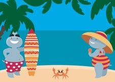 Hipopótamos que tienen un resto en la playa ilustración del vector