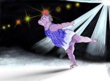 Hipopotam jest łyżwiarką ilustracja wektor