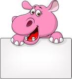Hipopotam kreskówka z puste miejsce znakiem Obraz Stock