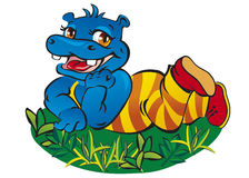Hipopotam na trawie obrazy royalty free