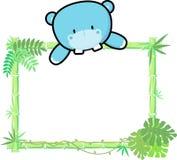 Hipopótamo bonito do bebê na placa vazia Imagens de Stock Royalty Free