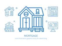 Hipoteca: gráficos da ilustração dos ícones Foto de Stock Royalty Free