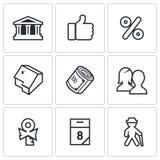 Hipotecznego kredyta pożyczania ikony ustawiać również zwrócić corel ilustracji wektora Zdjęcie Royalty Free