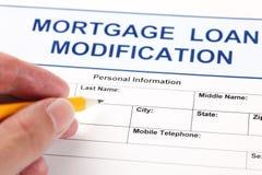 Hipotecznej pożyczki modyfikaci podaniowa forma Zdjęcie Stock