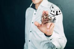 Hipoteczni pojęcia pieniądze w domu Obraz Stock