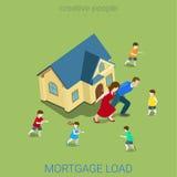 Hipoteque el vector plano 3d de la casa de la familia de la carga del préstamo de la carga isométrico libre illustration