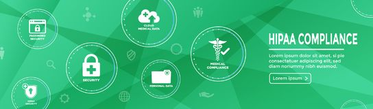 HIPPA Compliance web banner header w Medical Icon Set & text Royalty Free Illustration