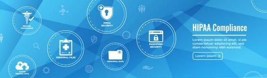 HIPPA Compliance web banner header w Medical Icon Set & text Vector Illustration