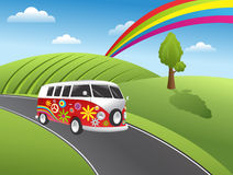 hippie αναδρομικό φορτηγό Στοκ Εικόνα