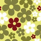 Hippie безшовной картины вектора желтый зеленый флористический иллюстрация вектора