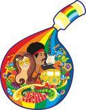 Hippie. Girl's face and men against a bright vegetative ornament. Symbol art of hippie Royalty Free Stock Image