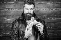 Hippie-Abnutzungslederjacke des Mannes grobe b?rtige und Bargeld halten Mann geben Bargeldbestechungsgeld Reichtum und Wohl stockfotos
