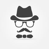 Hippie-Art des Gesichtsschattenbildes - vector Logo Lizenzfreie Stockfotografie