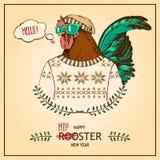 Hippie-Arthahn des von Hand gezeichneten Vektors Retro- Stockbild