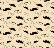 Hippie-Artmuster, -gläser und -schnurrbärte. vect stock abbildung