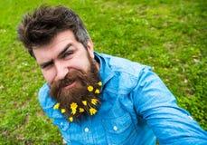 Hippie auf dem Blinzeln des Gesichtes sitzt auf dem Gras, defocused Mann mit Bart genießt Frühling, grünen Wiesenhintergrund Kerl Lizenzfreie Stockbilder