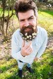 Hippie auf dem Blinzeln des Gesichtsstands auf dem Gras, defocused Natürliches Schönheitskonzept Mann mit Bart und Schnurrbart ge Lizenzfreies Stockfoto