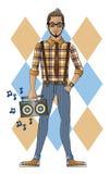 Hippie avec l'enregistreur Photographie stock libre de droits