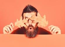 Hippie avec la barbe et le visage caché étonné photos libres de droits