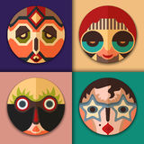 Hippie with aviator sunglasses, retro woman, hipster with glasses and tribal ornament, surprised man in african style Stock Image