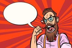 Hippie barbu élégant avec colère de rage en verre illustration libre de droits