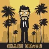 Hippie barbu avec des lunettes de soleil dans Miami Beach Illustration Stock